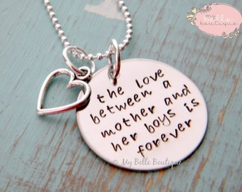 The Love Between a Mother and Her Boys is Forever - Personalized Hand Stamped Necklace with Silver Open Heart Charm