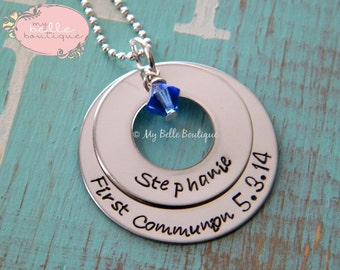 Personalized Hand Stamped Double Stacked Washer and Swarovski Birthstones Necklace