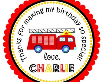 Firetruck Stickers, Personalized Labels, Firetruck Gift Tags, Firetruck Birthday Party  - Set of 12