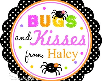 Halloween Stickers, Bugs and Kisses Stickers, Halloween Gift Tags, Stickers or Favor Tags -Set of 12