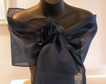 Handmade Silk Organza Pull Thru Wrap/Shawl/Shrug..Hands Free style/Clutch/Long Island Bridal/Wedding/Evening..Gift..Navy/Black/Ivory/White..