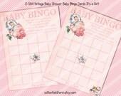 Vintage Baby Shower Baby Bingo Cards C-584 Digital Download Baby Girl Bingo Cards