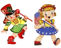 Americana Vintage American Marching Girls Clip Art C-545 for Personal and Commercial Use for Invitations, Cards, Iron-ons, 3 Files