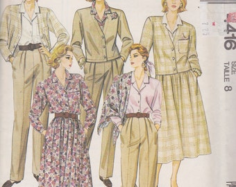 McCall's 4416 Misses' Unlined Jacket, Blouse, Skirt, Pants and Scarf Size 8 Vintage UNCUT Pattern Rare and OOP