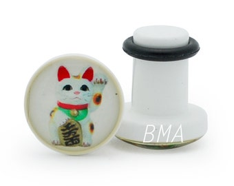 6g Lucky Cat Plugs (4mm) Single Flare Pair