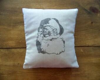 Santa pillow cover- christmas pillow - gray - antique - santa claus - natural- christmas pillows -retro santa - christmas santa