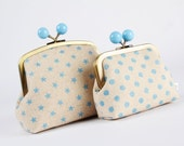 Set of 2 metal frame purses - Blue dots and stars - Color bobble purse and color dad / Glitter baby blue / linen blend  Geometric minimalist