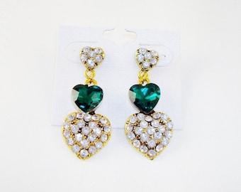 Gold Tone Green Heart & Clear Rhinestone Post Earrings