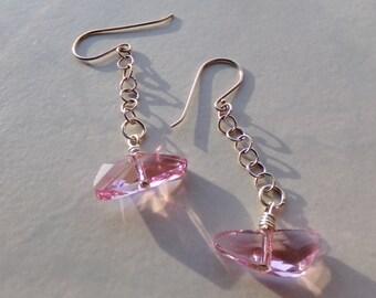 Pink Swarovski Crystal Wing Bead Earrings. Sterling Chain & Hooks