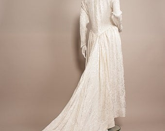 Vintage 1940s WW2 War Bride WEDDING Dress UK 12