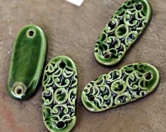 Shiny Green Filigree Ceramic Jewelry Connectors (2 pc.)