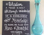 Proverbs 24:3-4 Bible Verse Canvas--Hand-lettered Chalkboard 16x20 Canvas