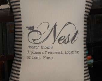 Nest Bird Pillow Cover with Black and Off White Ticking Stripe, Decorative Throw Pillow, Cottage Chic Pillow, Nest Definition Pillow