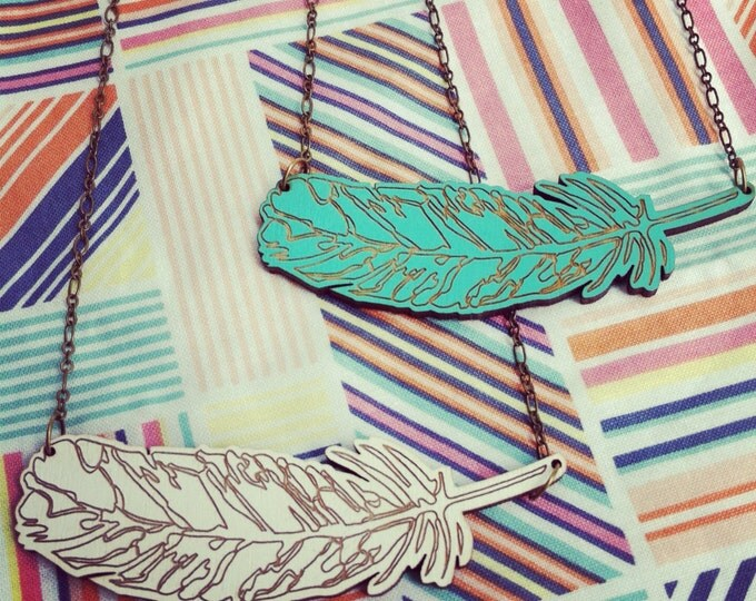 Feather necklace white or aqua, laser engraved wood necklace