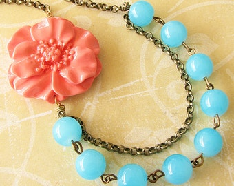Bridesmaid Jewelry Flower Necklace Coral Jewelry Statement Necklace Turquoise Jewelry Beadwork