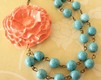 Flower Necklace Turquoise Jewelry Coral Necklace Statement Necklace Beaded Necklace Bridesmaid Jewelry Poppy Necklace Gift For Her