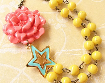 Flower Necklace Statement Necklace Coral Jewelry Mint Star Necklace Yellow Jewelry Charm Necklace Enamel Jewelry
