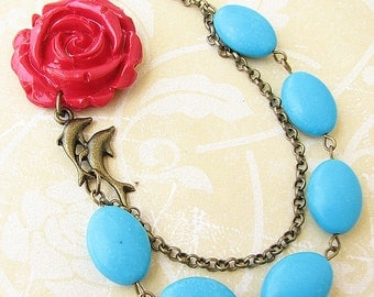 Flower Necklace Dolphin Jewelry Statement Necklace Turquoise Jewelry Bridesmaid Necklace Red Bib Necklace