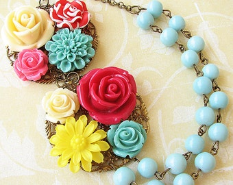 Statement Necklace Bib Necklace Flower Necklace Bridesmaid Jewelry Colorful Necklace Multi Strand Gift For Her