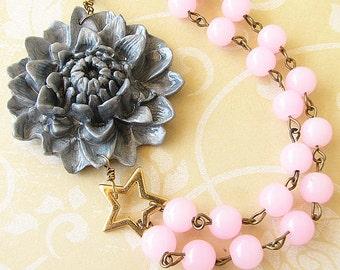Bib Necklace Flower Necklace Statement Bridesmaid Jewelry Grey Necklace Pink Necklace Bridesmaid Gift