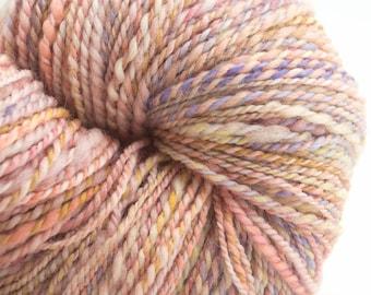 Rose, Huge Skein, Handspun Handpainted Yarn, Naturally Dyed, 390 yards, worsted.