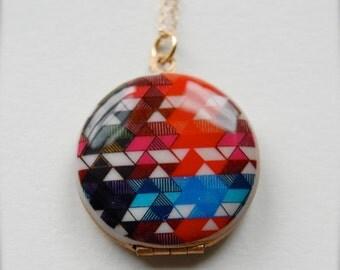 """Vintage Locket Necklace Alyson Fox Original Artwork """"Color Study II"""""""