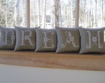 "DREAM"" Mini Shelf Pillows /Mantle Decor/ Teen Bedroom Decor"