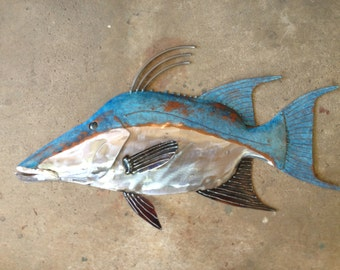 Hogfish Metal Wall  Fish sculpture 25in long Tropical Beach Coastal  Art