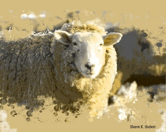Sheep Art, Sepia Lamb, Farm Ranch Animal Herd, Abstract Realism, Cabin Home Farmhouse Decor, Wall Hanging, Rustic Giclee Print, 8 x 10