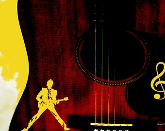 Guitar POP Art, Guitarist Silhouette, Yellow Treble Clef, Musician Giclee Print, Abstract Music, Stringed Instrument, Home Wall Decor 8 x 10