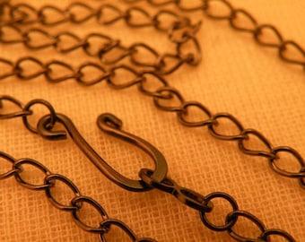 Gunmetal Black Curb Chain Vintage Style you choose the length