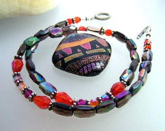 Bold Large DICHROIC Statement Necklace- Pendant-Focal- Fused Glass Magenta Orange and Bronze.