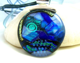 Blue and Green Zombie Face Dichroic Pendant-Focal- Fused Glass- One of a Kind Leslie Dana-Made in New York