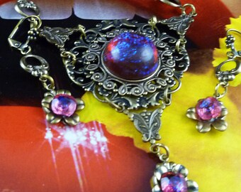 Give Me Your Dragon's Breath Glass Opal Heart Necklace Set - FREE U.S. Shipping