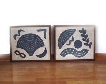 Antique Quilt Stencils Templates / Framed Set Folk Craft Folk Art