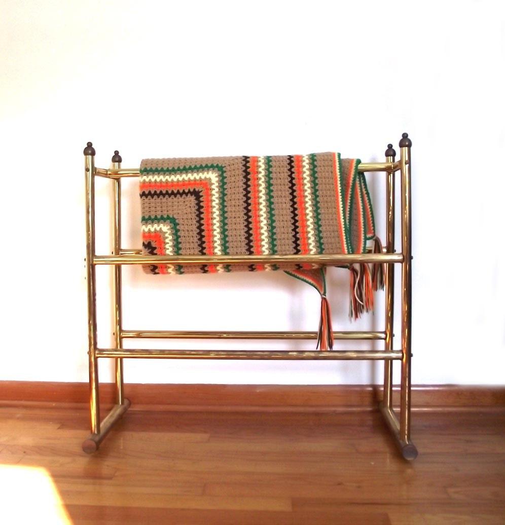 Brass Quilt Rack / Vintage 80s Blanket Rack