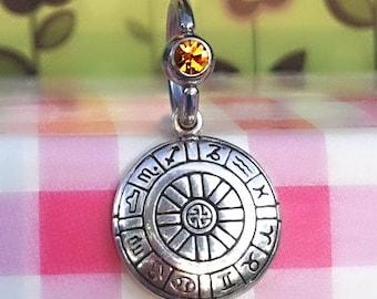 Horoscope Navel Ring, Zodiac Jewelry