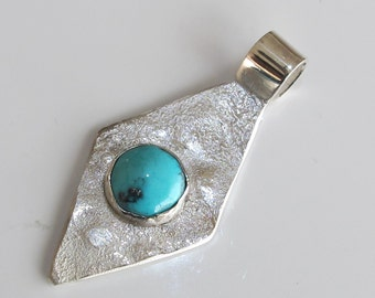 Turquoise & Silver Pendant, Handcrafted Sterling Jewelry Birthstone for December