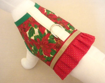 Holiday Christmas Poinsettia Dog Harness Vest