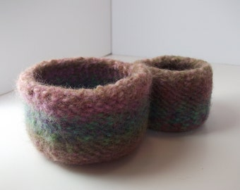 Wool felted bowls, nesting bowls, knitted bowls, earthy bowl duo, nested wool bowls, knitted and felted bowls, colorful wool bowls