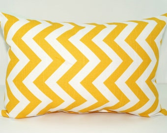 CLEARANCE - Premier Prints Zig Zag Corn Yellow and White Chevron Decorative Throw Pillow - Free Shipping