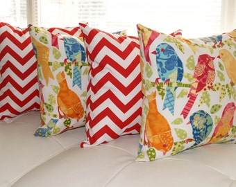 Richloom Ash Hill Garden and Zig Zag Chevron Red Outdoor Throw Pillow - Set of 4 - Free Shipping