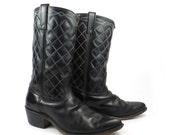 Black Cowboy Boots Vintage 1970s Stuart McGuire Leather Men's size 9 1/2