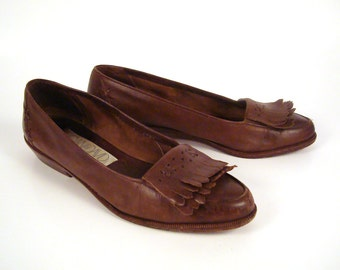 Loafers Brown Vintage 1980s Leather Shoes Joan and David Women's