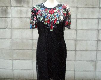 Black Beaded Dress Vintage 1980s Sequin Baroque Jeweled Women's