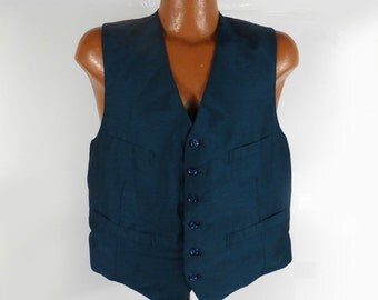1960s Sharkskin Vest Vintage Wool Blue Men's