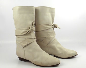Boots White Women's Flat Vintage 1980s Jack Rogers Wrap around tie Slouch Short Ankle Boots size 36