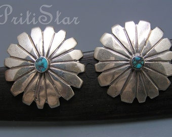 Large Vintage  Button Earrings Southwestern Style Turquoise Silver jewelry