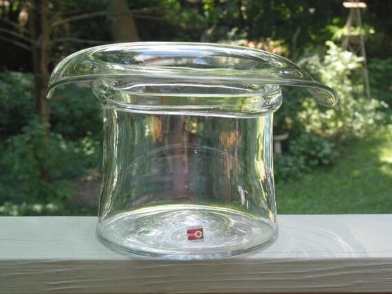 Huge Blenko Usa Handmade Art Glass Top Hat Ice Bucket Vase