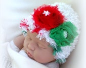 SALE Baby Girl Christmas Colors Fuzzy Warm Hat 0 TO 6 MONTHS